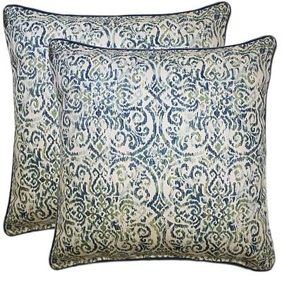 Latitude Run Demuth Cotton Throw Pillow (Set of 2); Blue
