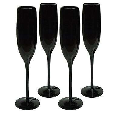 Latitude Run Morrisville Flute Glass (Set of 4); Midnight Black