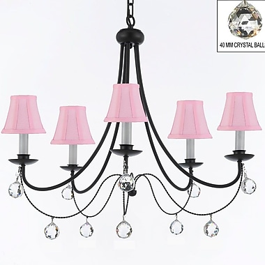 Rosdorf Park Clemence 5-Light Wrought Iron Shaded Chandelier; Pink
