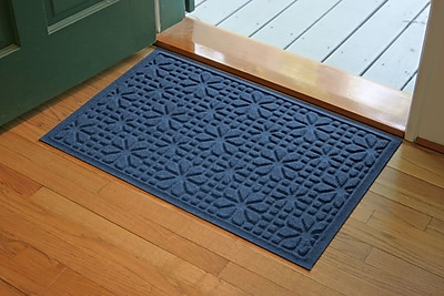 Bungalow Flooring Aqua Shield Navy Stained Glass Mat; 2' x 3'
