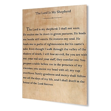 Winston Porter 'The Lord is My Shepherd' Textual Art on Plaque; 24'' H x 20'' W