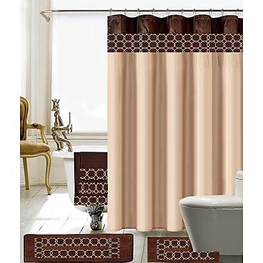 Willa Arlo Interiors Austyn 18 Piece Embroidery Shower Curtain Set; Beige/Brown