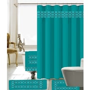Willa Arlo Interiors Austyn 18 Piece Embroidery Shower Curtain Set; Turquoise