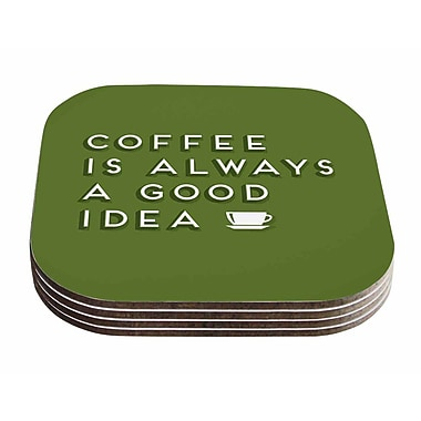 East Urban Home Busy Bree 'Good Idea' Tyopgraphy Coaster (Set of 4)