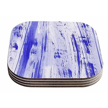 East Urban Home Danii Pollehn 'Indigo Stripes' Watercolor Coaster (Set of 4)