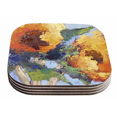 East Urban Home Carol Schiff 'Sunflower Trio' Floral Coaster (Set of 4)