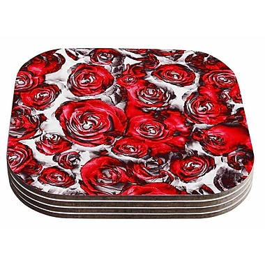 East Urban Home Dawid Roc 'Roses Floral Abstract Abstract' Coaster (Set of 4)