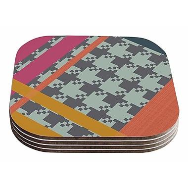 East Urban Home Pellerina Design 'Houndstooth Color Block' Contemporary Coaster (Set of 4)