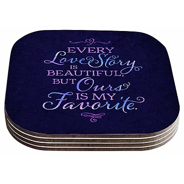 East Urban Home Noonday Design 'Every Love Story Is Beautiful' Coaster (Set of 4)