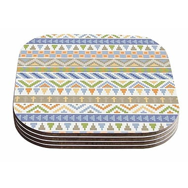 East Urban Home Noonday Design 'Happy Tribal' Pastel Abstract Coaster (Set of 4)