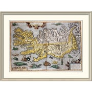 East Urban Home 'Hand Colored Map of Iceland' Framed Print; 33'' H x 44'' W x 1.5'' D