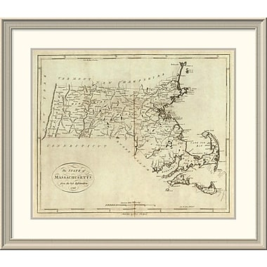 East Urban Home 'State of Massachusetts, 1796' Framed Print; 33'' H x 38'' W x 1.5'' D