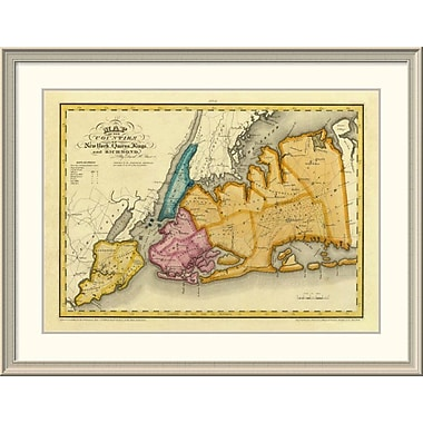 East Urban Home 'New York, Queens, Kings, Richmond Counties, 1829' Framed Print