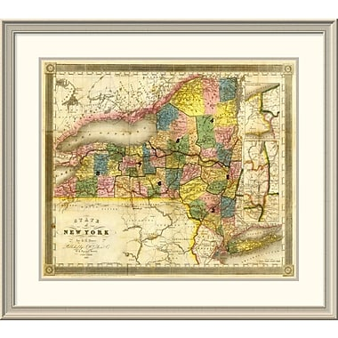 East Urban Home 'State of New York, 1840' Framed Print; 34'' H x 38'' W x 1.5'' D