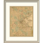 East Urban Home 'Map of Boston, 1860' Framed Print; 30'' H x 25'' W x 1.5'' D