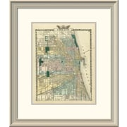 East Urban Home 'Map of Chicago City, 1876' Framed Print; 24'' H x 20'' W x 1.5'' D