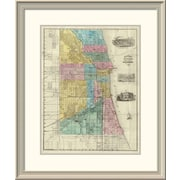 East Urban Home 'Guide Map of Chicago, 1869' Framed Print; 30'' H x 25'' W x 1.5'' D