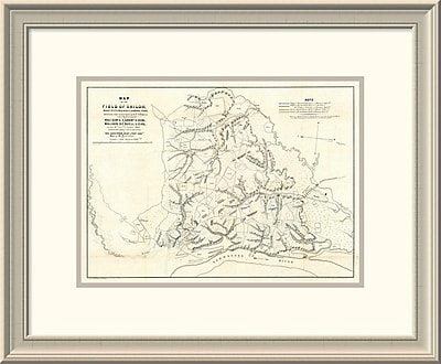 'Civil War Map of the Field of Shiloh, Near Pittsburgh Landing, Tennessee, 1862' Framed Print