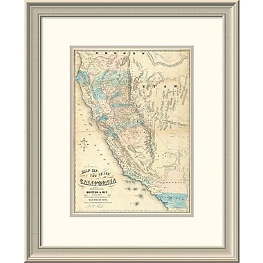 East Urban Home 'Map of the State of California, 1853' Framed Print; 24'' H x 19'' W x 1.5'' D