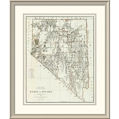 East Urban Home 'State of Nevada, 1879' Framed Print; 38'' H x 32'' W x 1.5'' D