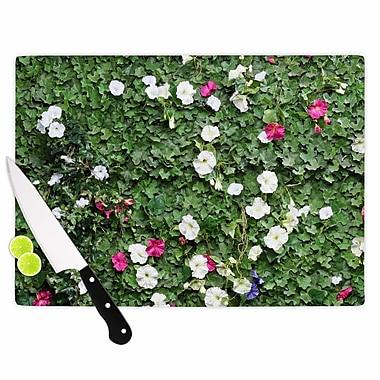 East Urban Home Susan Sanders Glass 'Green Flower Vine Wall' Cutting Board
