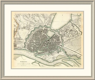 East Urban Home 'Hamburg, Germany, 1841' Framed Print; 32'' H x 38'' W x 1.5'' D