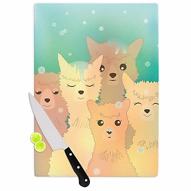 East Urban Home Graphic Tabby Glass 'Alpacas in Snow Animals' Cutting Board