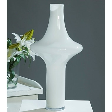 Orren Ellis White Glass Floor Vase