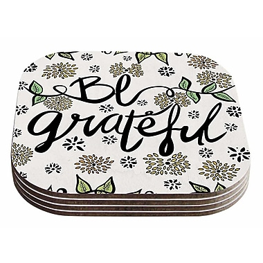 East Urban Home Pom Graphic Design 'Be Grateful' Typography Nature Coaster (Set of 4)