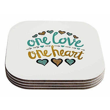East Urban Home Pom Graphic Design 'One Love One Heart' Typography Illustration Coaster (Set of 4)
