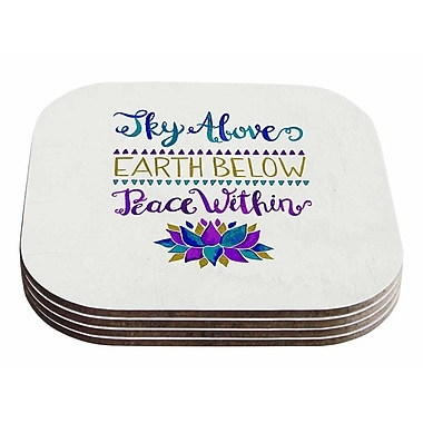 East Urban Home Pom Graphic Design 'Sky Above Peace Within' Typography Coaster (Set of 4)