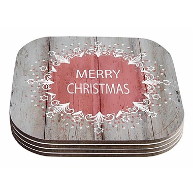 East Urban Home Suzanne Carter 'Merry Christmas' Holiday Typography Coaster (Set of 4)