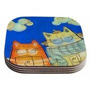 East Urban Home Carina Povarchik 'Happy Cats in the City' Coaster (Set of 4)