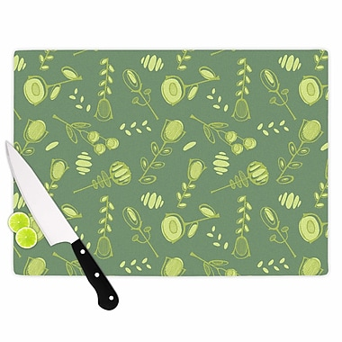 East Urban Home Holly Helgeson Glass 'Hattie Floral' Cutting Board; 0.25'' H x 11.5'' W x 8.25'' D