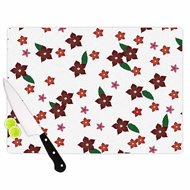 East Urban Home NL Designs Glass 'Holiday Floral Pattern' Cutting Board