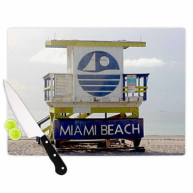 East Urban Home Philip Brown Glass 'Miami Beach Lifeguard' Cutting Board
