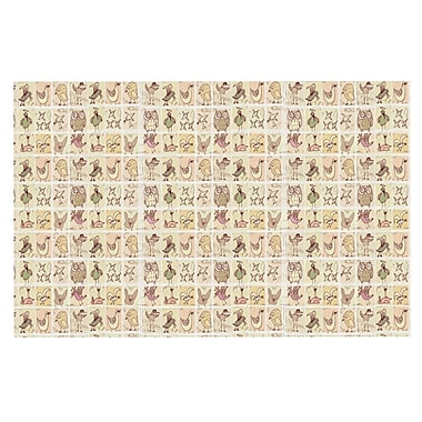 East Urban Home Marianna Tankelevich 'Cute Birds' Doormat; Tan Grid