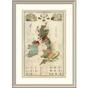 East Urban Home 'Composite: Geological, Palaeontological Map British Islands, 1854' Framed Print