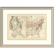 East Urban Home 'Railroad Map of the United States, 1890' Framed Print; 22'' H x 30'' W x 1.5'' D
