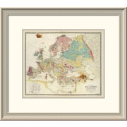 East Urban Home 'Geological Map Europe, 1856' Framed Print; 21'' H x 24'' W x 1.5'' D