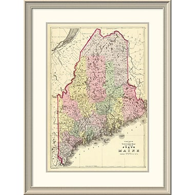 East Urban Home 'State of Maine, 1890' Framed Print; 38'' H x 29'' W x 1.5'' D