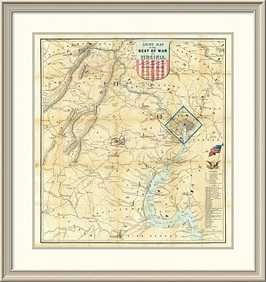 East Urban Home 'Army Map of the Seat of War' Framed Print; 38'' H x 36'' W x 1.5'' D