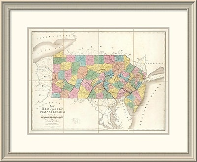 East Urban Home 'Map of New Jersey and Pennsylvania, 1839' Framed Print; 25'' H x 30'' W x 1.5'' D