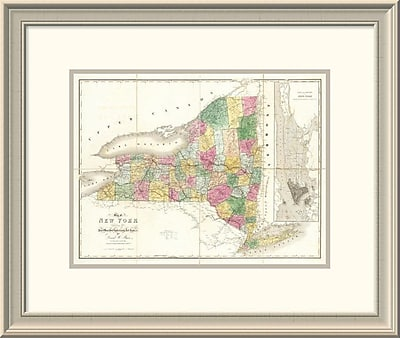 East Urban Home 'Map of New York, 1839' Framed Print; 20'' H x 24'' W x 1.5'' D