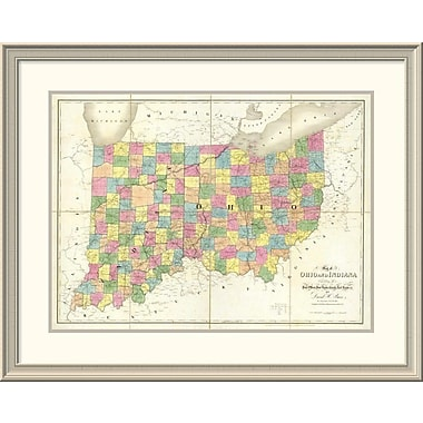East Urban Home 'Map of Ohio and Indiana, 1839' Framed Print; 30'' H x 38'' W x 1.5'' D