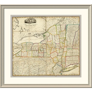 East Urban Home 'State of New York w/ Part of the Adjacent States, 1818' Framed Print