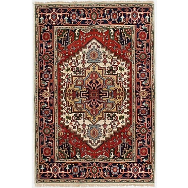 Bloomsbury Market Briggs Traditional Hand-Knotted Cream/Red Area Rug