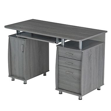 Techni Mobili Complete Workstation Computer Desk with Storage, Grey (RTA-4985-GRY)