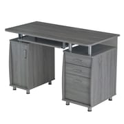 Techni Mobili Complete Workstation Computer Desk with Storage, Grey (RTA-4985-GRY)