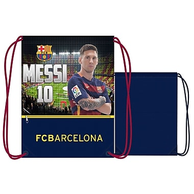 F.C. Barcelona – Sac de sport à cordons Lionel Messi, 17 po, bleu